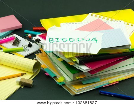 The Pile Of Business Documents; Bidding