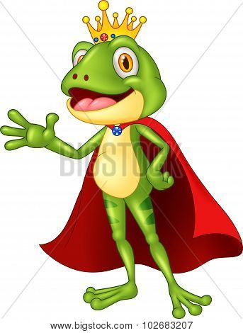 Cartoon adorable king frog waving hand