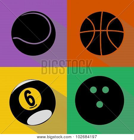 Sport Balls Silhouettes Vector Set