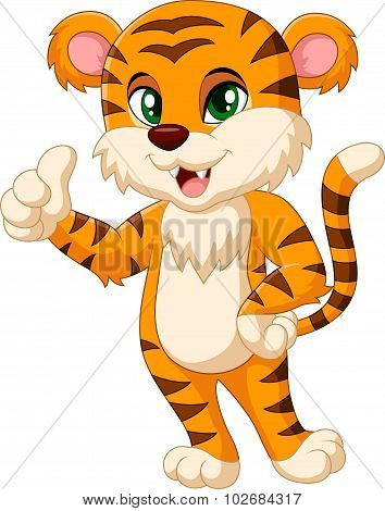 Baby tiger mascot giving thumb up