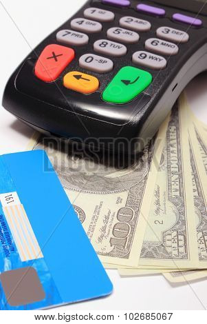Payment Terminal With Credit Card And Money