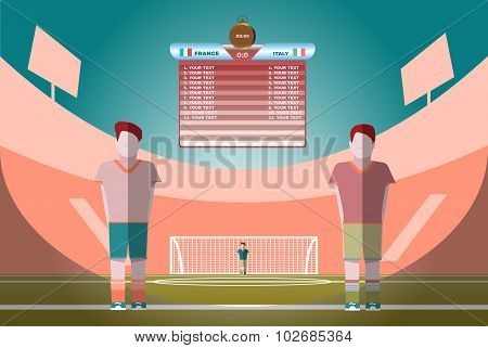 Soccer Match Scoreboard On A Playfield