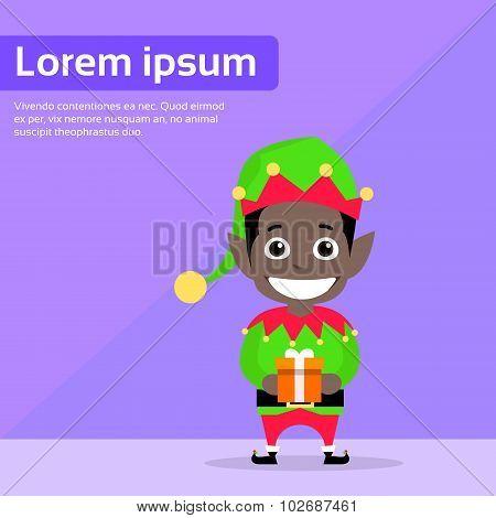 Christmas African American Race Elf Cartoon Character Santa Helper