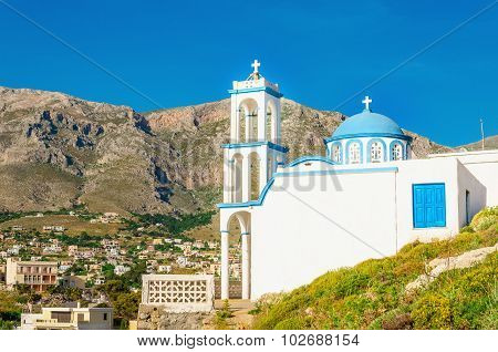 Typical Greek church with iconic blue dome, Greece