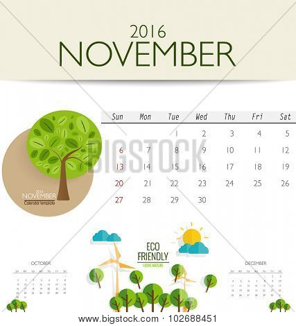 2016 calendar, monthly calendar template for November. Vector illustration.