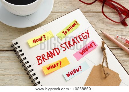 Brand Strategy Marketing Concept With Work Table