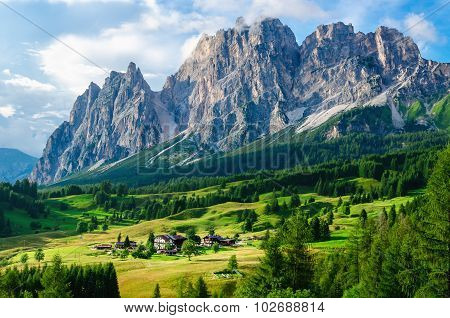 Aalpine village and beautiful mountains, Italy