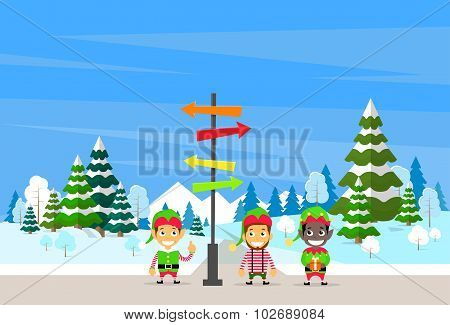 Winter Forest Landscape Sign Direction Way Signboard Arrow Christmas Background, Pine Snow Trees