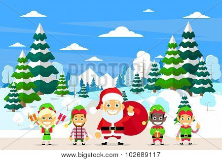 Santa Clause Christmas Elf Cartoon Character Winter Forest Landscape, Pine Snow Trees Woods
