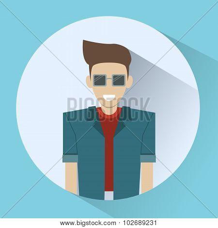 Man Smiling Round Icon