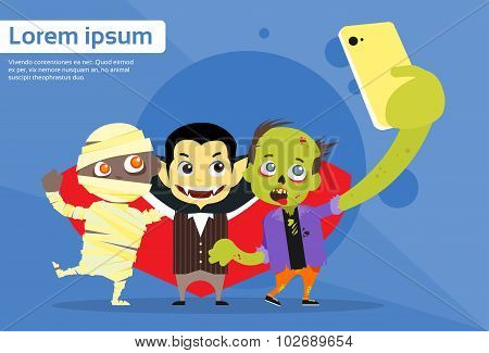 Halloween Selfie Photo Smart Phone Cartoon Vampire Zombie Mummy