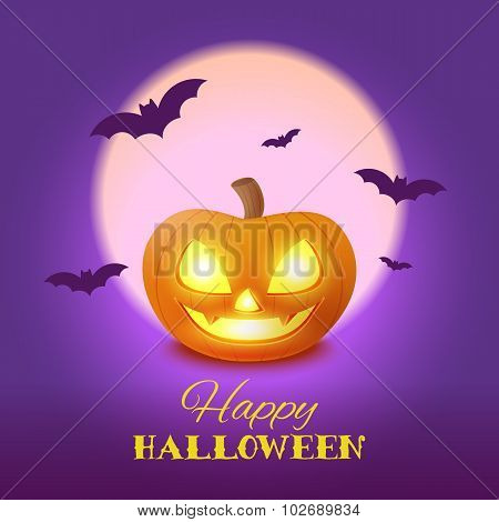 Happy Halloween Card With Pumpkin In The Moonlight, Vector Illustration