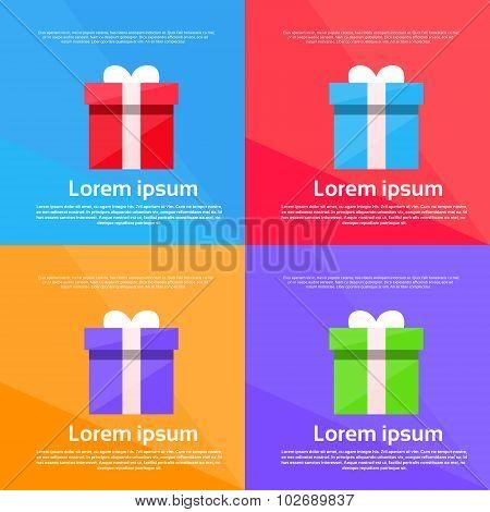 Gift Box Colorful Set Present Flat Vector
