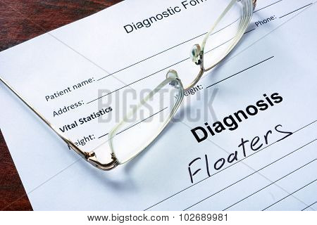 Diagnosis list with Floaters and glasses.
