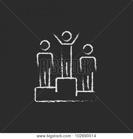 Winners on the podium hand drawn in chalk on a blackboard vector white icon isolated on a black background.