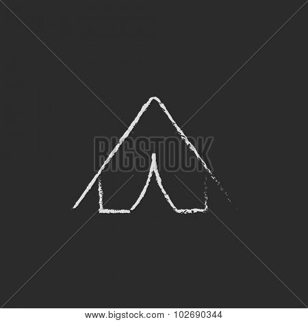 Tent hand drawn in chalk on a blackboard vector white icon isolated on a black background.