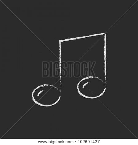 Music note hand drawn in chalk on a blackboard vector white icon isolated on a black background.