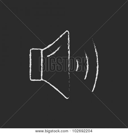 High speaker volume hand drawn in chalk on a blackboard vector white icon isolated on a black background.
