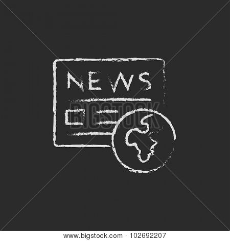 International newspaper hand drawn in chalk on a blackboard vector white icon isolated on a black background.