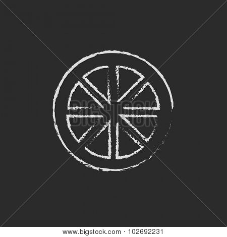 Slice of lemon hand drawn in chalk on a blackboard vector white icon isolated on a black background.