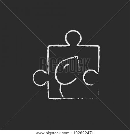 Puzzle with leaf sketch icon for web, mobile and infographics. Hand drawn vector dark grey icon isolated on light grey background.