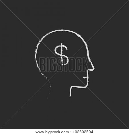 Head with dollar symbol hand drawn in chalk on a blackboard vector white icon isolated on a black background.
