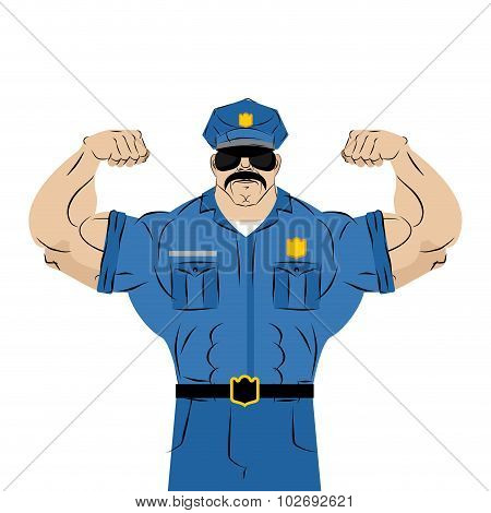 Strong Power Police Officer. Large Man In Police Uniform. Bodybuilder With Mustache And Glasses. Ath