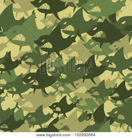 Military Texture Shark. Soldiers Protective Camouflage Fish. Seamless Background Of Army Green And B