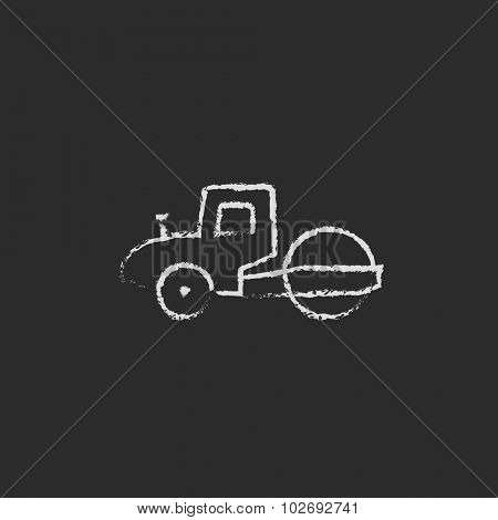 Road roller hand drawn in chalk on a blackboard vector white icon isolated on a black background.