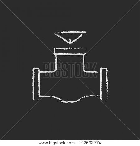 Gas pipe valve hand drawn in chalk on a blackboard vector white icon isolated on a black background.