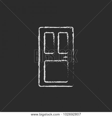 Front door hand drawn in chalk on a blackboard vector white icon isolated on a black background.