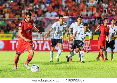 Sisaket Thailand-september 16: Victor Amaro Of Sisaket Fc. Take A Penalty Kick During Thai Premier L
