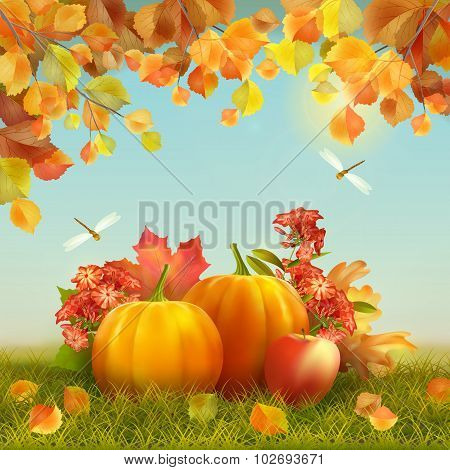 Vector Autumn Thanksgiving Card