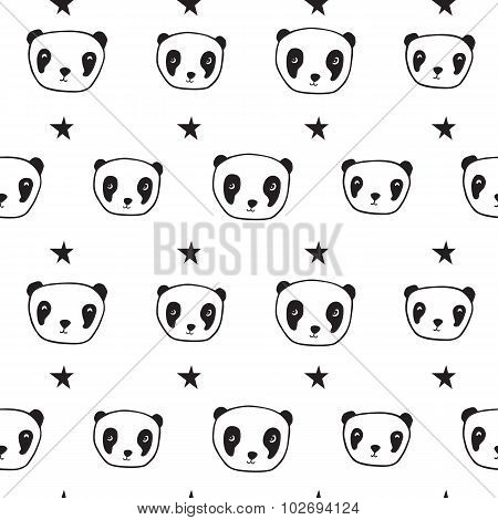 Seamless pattern with pandas.