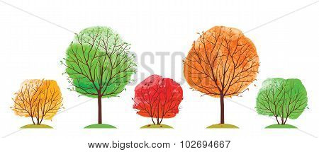 Summer and autumn trees.