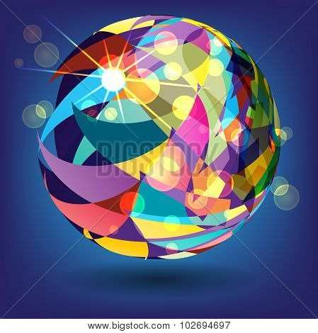 Abstract Background With A Sphere Of Colorful Triangles In The R