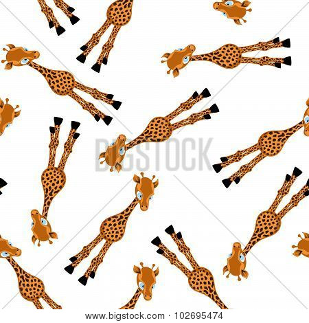 Seamless Funny Cartoon Giraffe