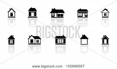 set isolated home with mirror reflection silhouette