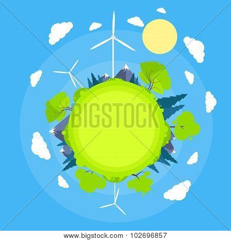 Wind Turbine Tower Blue Sky Sun Green Grass Energy Technology Flat Circle