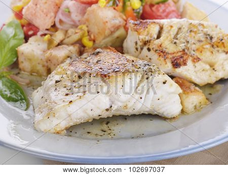 Seared Mahi Mahi Fillets with Vegetables and Sauce