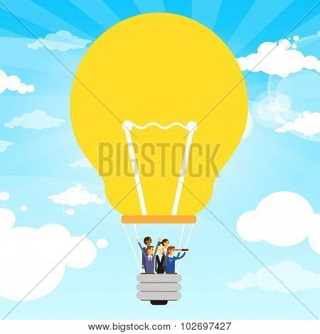Business People Group Fly Air Balloon Light Bulb Idea Concept