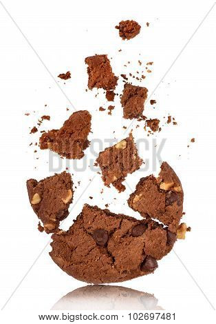 Bitten Into Chocolate Chip Cookie With Crumbs On White