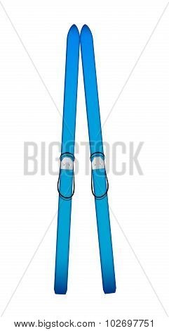 Old wooden alpine skis in blue design