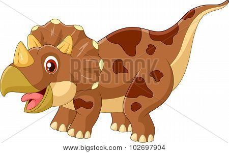 Cartoon triceratops three horned dinosaur illustration