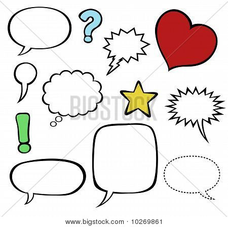 Comics-style speech bubbles / balloons isolated on white