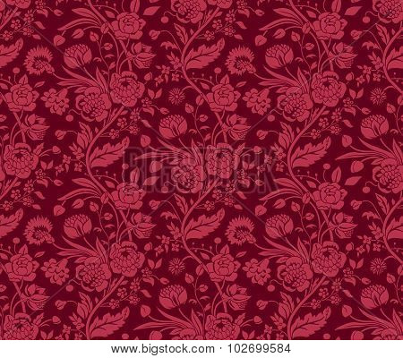 Claret seamless pattern with a vintage flower bouquets carnations and chrysanthemums