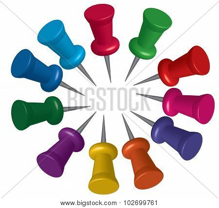 Set Of Push Pins In Different Colors. Thumbtacks. Illustration  Isolated On White Background