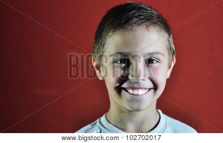 Portrait Of Happy Joyful Cute Little Boy, Studio Shot