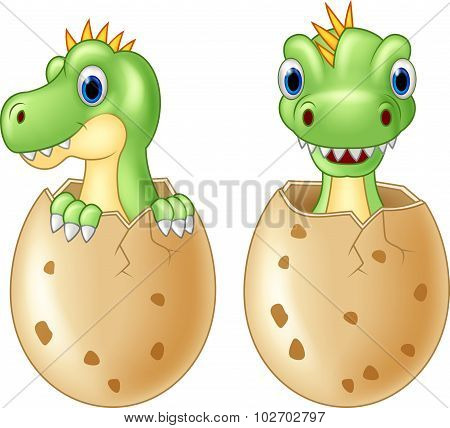 Cute baby dinosaur hatching, isolated vector on white