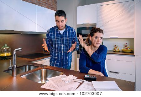 Husband trying to reconcile with angry wife after a quarrel